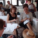 Annette and Michelle stitching